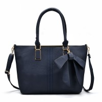 VK5224 Dark Blue - Simple Oversized Metal Tote Bag With Bow Decoration
