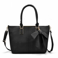 VK5224 Black - Simple Oversized Metal Tote Bag With Bow Decoration