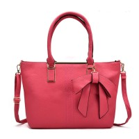 VK5224 Fushia - Simple Oversized Metal Tote Bag With Bow Decoration