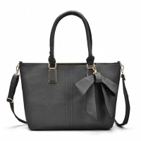 VK5224 Dark Grey - Simple Oversized Metal Tote Bag With Bow Decoration