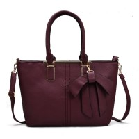 VK5224 Purplish Red - Simple Oversized Metal Tote Bag With Bow Decoration