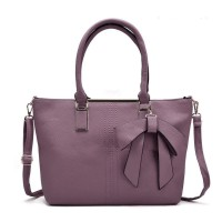 VK5224 Purple - Simple Oversized Metal Tote Bag With Bow Decoration