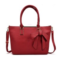 VK5224 Red - Simple Oversized Metal Tote Bag With Bow Decoration