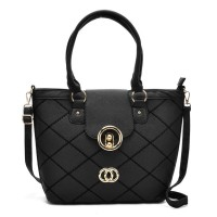 VK5226 Black - Fashion Quilted Metal Bucket Tote Bag