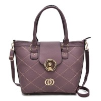 VK5226 Purple - Fashion Quilted Metal Bucket Tote Bag