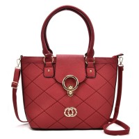 VK5226 Red - Fashion Quilted Metal Bucket Tote Bag