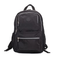 VK5255 Black - Classic Nelon Zip Backpack With Front Pocket