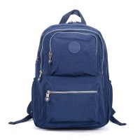 VK5255 Blue - Classic Nelon Zip Backpack With Front Pocket