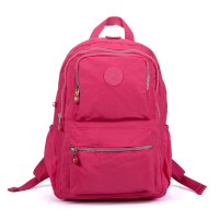 VK5255 Fushia - Classic Nelon Zip Backpack With Front Pocket