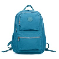 VK5255 Green - Classic Nelon Zip Backpack With Front Pocket