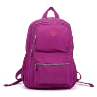 VK5255 Purple - Classic Nelon Zip Backpack With Front Pocket
