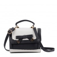 VK5264 Beige - Contrast Color Cross Body Bag With Bow