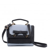 VK5264 Blue - Contrast Color Cross Body Bag With Bow