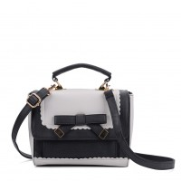 VK5264 Grey - Contrast Color Cross Body Bag With Bow