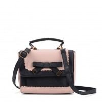 VK5264 Pink - Contrast Color Cross Body Bag With Bow