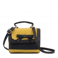 VK5264 Yellow - Contrast Color Cross Body Bag With Bow
