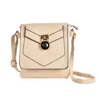 VK5269 Beige - Lock Detail Boxy Cross Body Bag With Strap