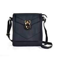 VK5269 Blue - Lock Detail Boxy Cross Body Bag With Strap