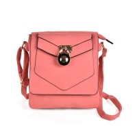 VK5269 Pink - Lock Detail Boxy Cross Body Bag With Strap