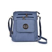 VK5272 Light Blue - Zip Front Cross Body Bag With Shoulder Strap