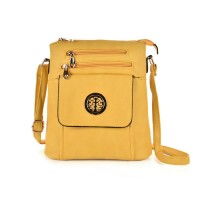 VK5272 Yellow - Zip Front Cross Body Bag With Shoulder Strap