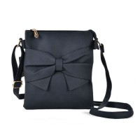 VK5274 Blue - Zip Top Cross Body Bag With Bow