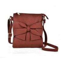 VK5274 Brown - Zip Top Cross Body Bag With Bow