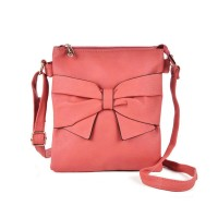 VK5274 Pink - Zip Top Cross Body Bag With Bow