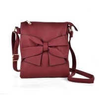 VK5274 Red - Zip Top Cross Body Bag With Bow