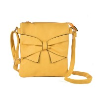 VK5274 Yellow - Zip Top Cross Body Bag With Bow