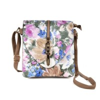 VK5275 Apricot - Floral Print Cross Body Bag With Metal