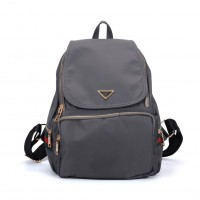VK5276 Grey - Casual Solid School Bag Student Backpack