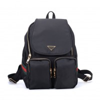 VK5277A Black - Solid Patchwork School Bag Student Backpack