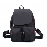 VK5277 Black - Solid Patchwork School Bag Student Backpack