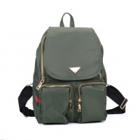 VK5277 Green - Solid Patchwork School Bag Student Backpack