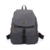 VK5277 Grey - Solid Patchwork School Bag Student Backpack