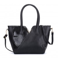 VK5285 Black - Crocodile Patchwork Tote Bag With Metal Bar
