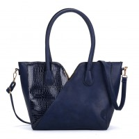 VK5285 Blue - Crocodile Patchwork Tote Bag With Metal Bar
