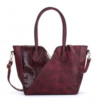 VK5285 Red - Crocodile Patchwork Tote Bag With Metal Bar
