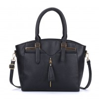 VK5286 Black - Women Zipper Decoration Tote Bag With Metal