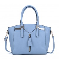 VK5286 Blue - Women Zipper Decoration Tote Bag With Metal