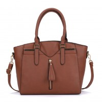 VK5286 Brown - Women Zipper Decoration Tote Bag With Metal