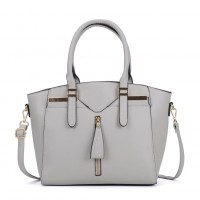 VK5286 Grey - Women Zipper Decoration Tote Bag With Metal