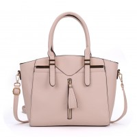 VK5286 Pink - Women Zipper Decoration Tote Bag With Metal