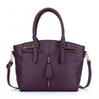 VK5286 Purple - Women Zipper Decoration Tote Bag With Metal