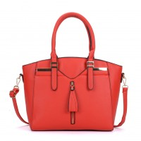 VK5286 Red - Women Zipper Decoration Tote Bag With Metal