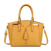 VK5286 Yellow - Women Zipper Decoration Tote Bag With Metal