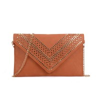 VK5292 Earth Yellow - Studded Hollow Clutch Bag With Chain Shoulder Strap