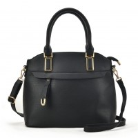 VK5298 Black - Metal Detail Tote Bag With Detachable Strap