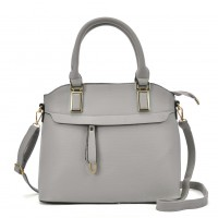 VK5298 Grey - Metal Detail Tote Bag With Detachable Strap